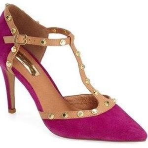 HALOGEN Fuschia Martine T-Strap Studded Pumps